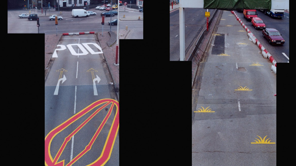 Road painting interventions, Vauxhall Cross, London (2000)